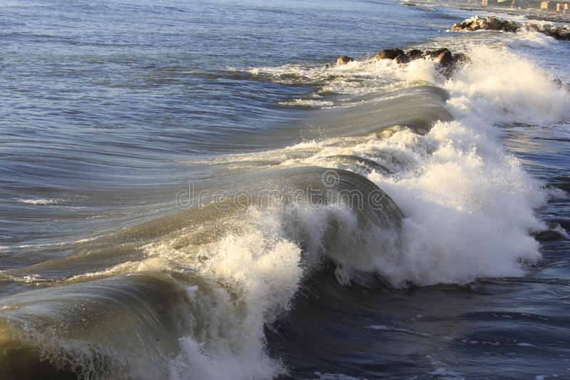 Blue wave explodes royalty free stock photos