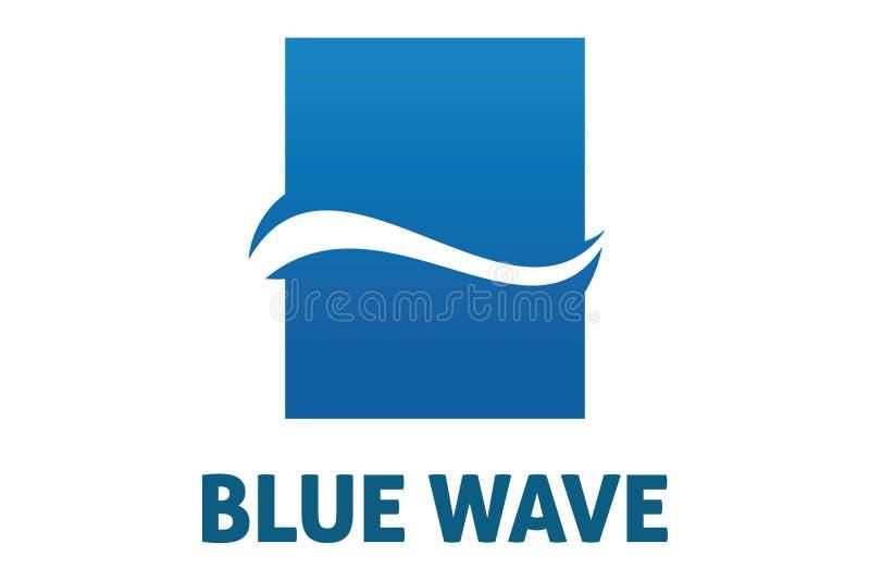 Blue wave logo. Logo design of blue wave inside of rectange vector illustration