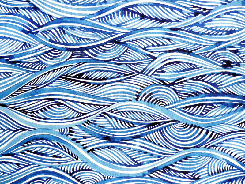 Blue wave minimal watercolor painting hand drawn japanese style. Design illustration royalty free illustration