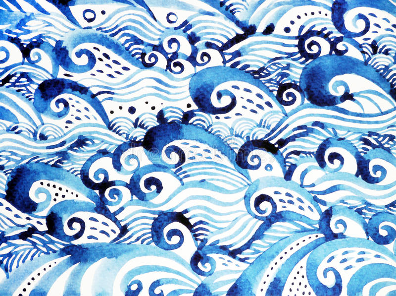 Blue wave pattern minimal watercolor painting hand drawn japanese style. Design illustration stock illustration