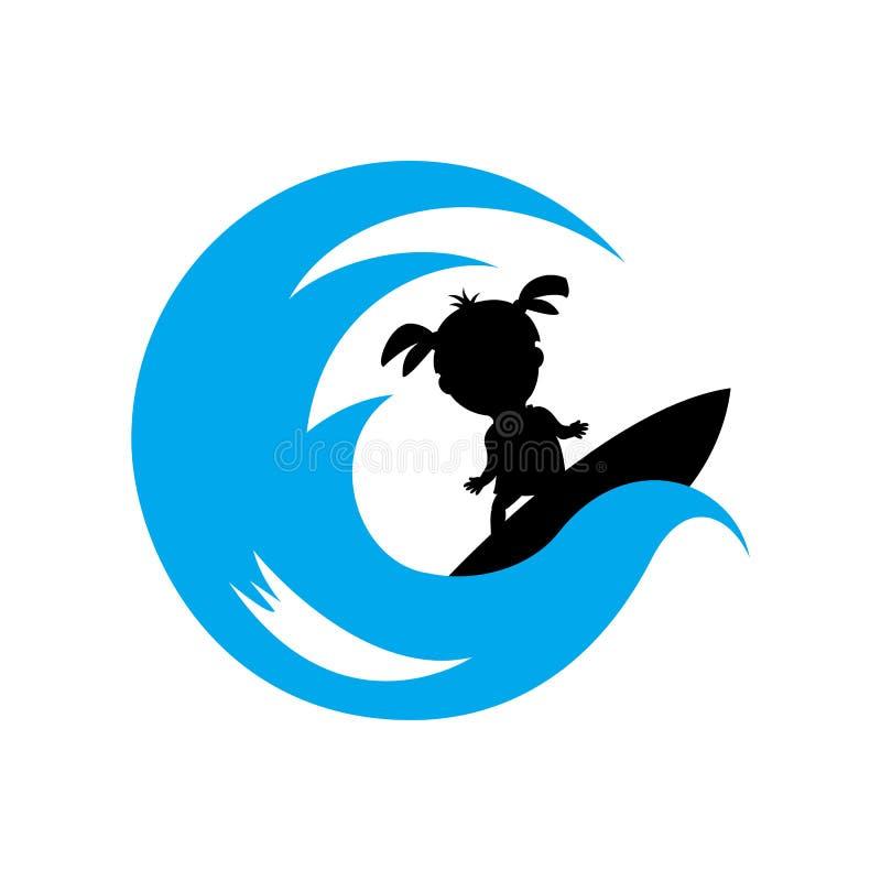 blue wave and surfing kids illustration vector design logo royalty free illustration