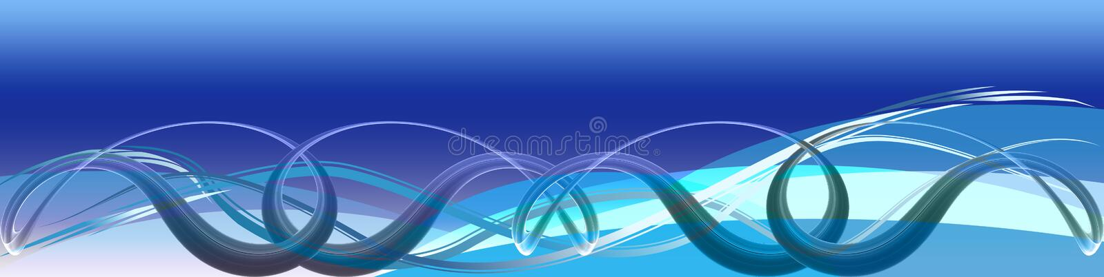 Blue Waves And Connections. Conceptual blue banner / header with waves and decorative connecting shapes going along with the waves. Can be used as a basic royalty free illustration