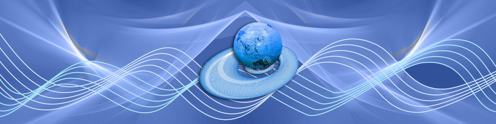 Blue waves with globe. Blue banner with waves and our globe on a floating circle. The circle has spirographic patterns. Can be used as an Internet related design vector illustration