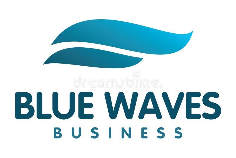 Blue waves logo. Logo design of double blue waves vector illustration