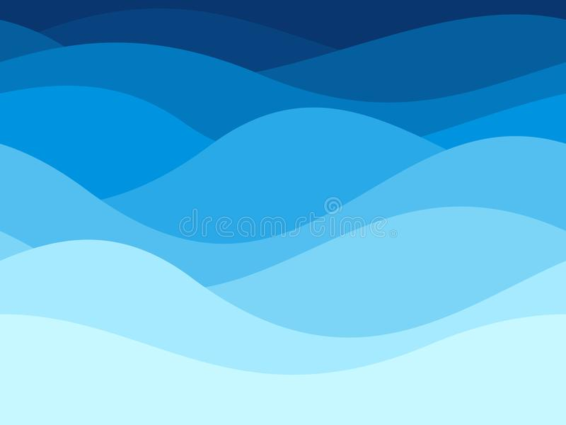 Blue waves pattern. Summer lake wave, water flow abstract vector seamless background stock illustration