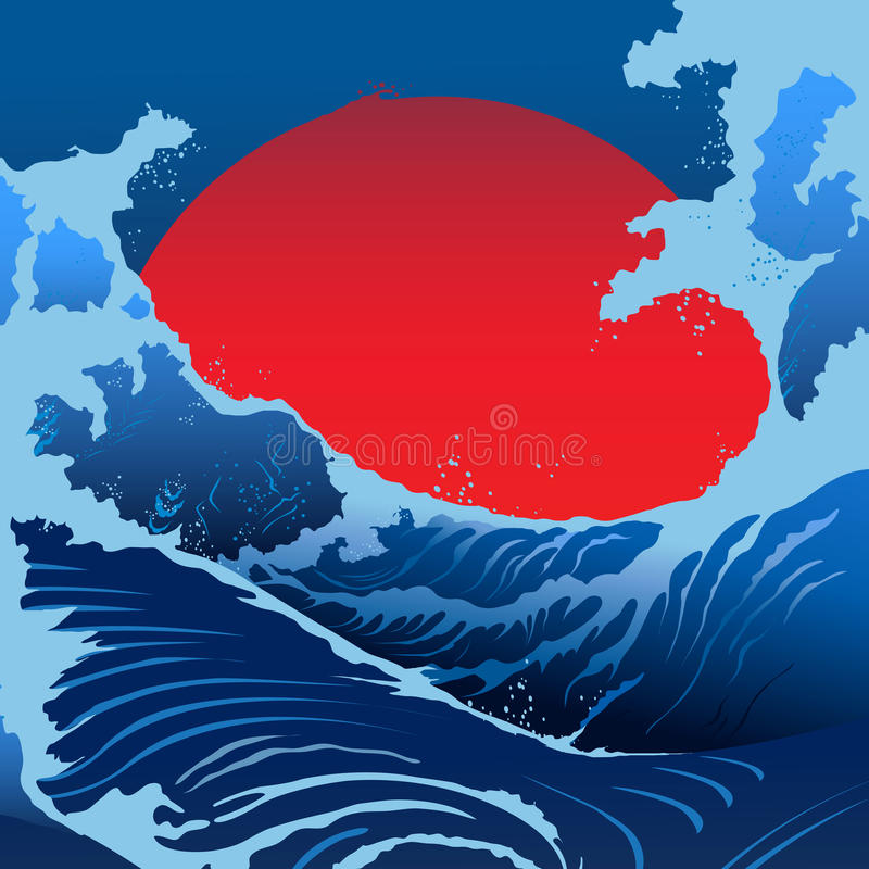 Blue Waves And Red Sun In The Japanese Style vector illustration