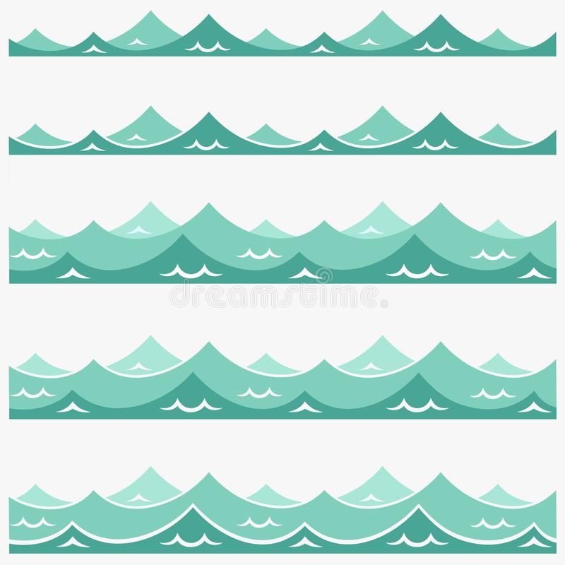 Blue waves sea ocean vector illustration abstract pattern background colorful wallpaper water collection set royalty free illustration