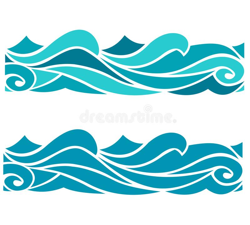 Blue waves sea ocean vector illustration abstract pattern background colorful wallpaper water set stock illustration