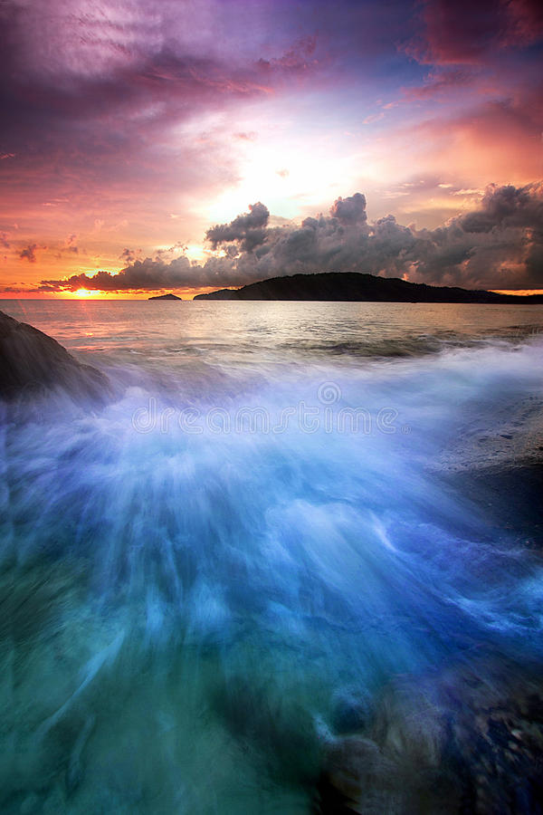 Download The blue waves stock photo. Image of rock, colorful, sunset - 34237604