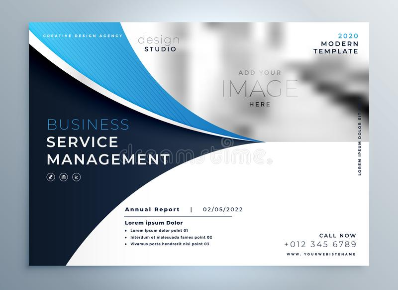Blue wavy business brochure or magazine cover page template. Illustration royalty free illustration