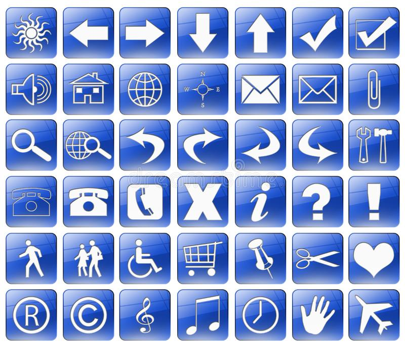 Download Blue Web Buttons Isolated On A White Stock Illustration - Illustration of pictogram, music: 9665272