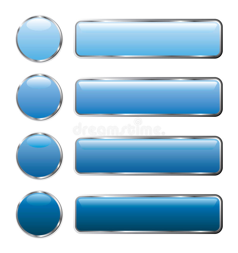 Blue web buttons long. Vector buttons for web and computing