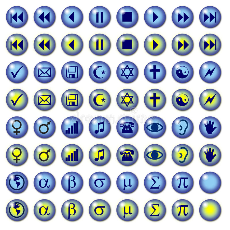 Blue Web Buttons with Misc symbols. Graphic interface or Web buttons including Greek media and religious symbols. With rollover images. Part of a set royalty free illustration
