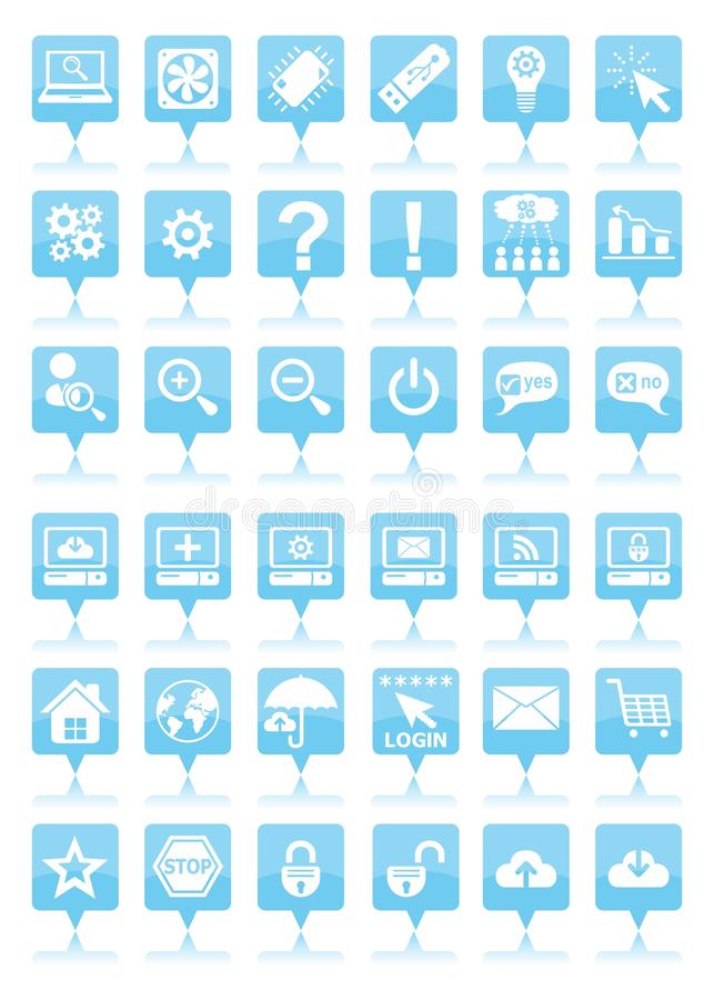 Blue web icons stock illustration
