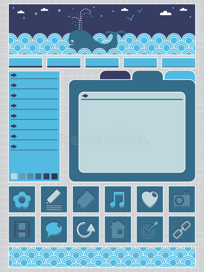 Blue web objects vector illustration