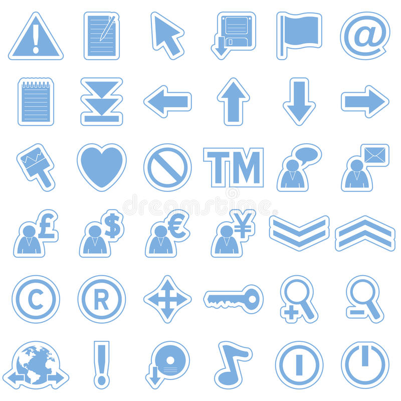 Download Blue Web Stickers Icons [2] Stock Vector - Image: 10600610