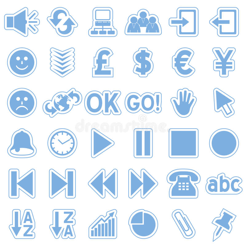 Blue Web Stickers Icons [3] Stock Images