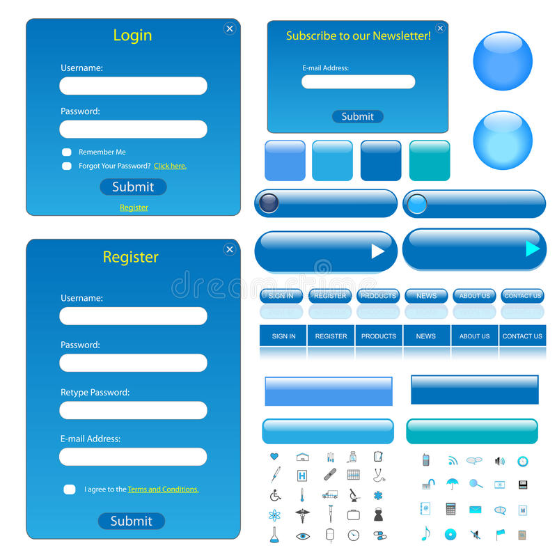 Blue Web Template stock illustration