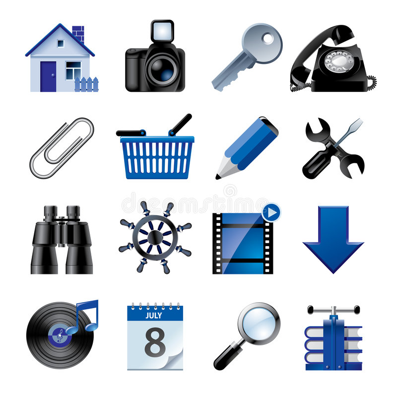 Free Blue Website And Internet Icons 2 Royalty Free Stock Photo - 4402795