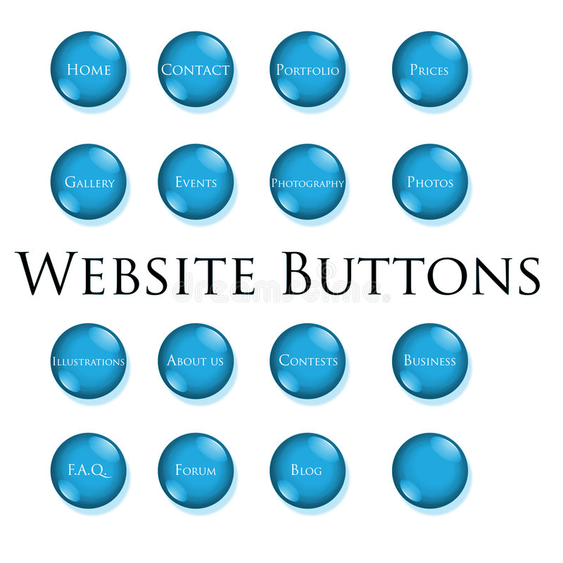 Blue website buttons stock photography