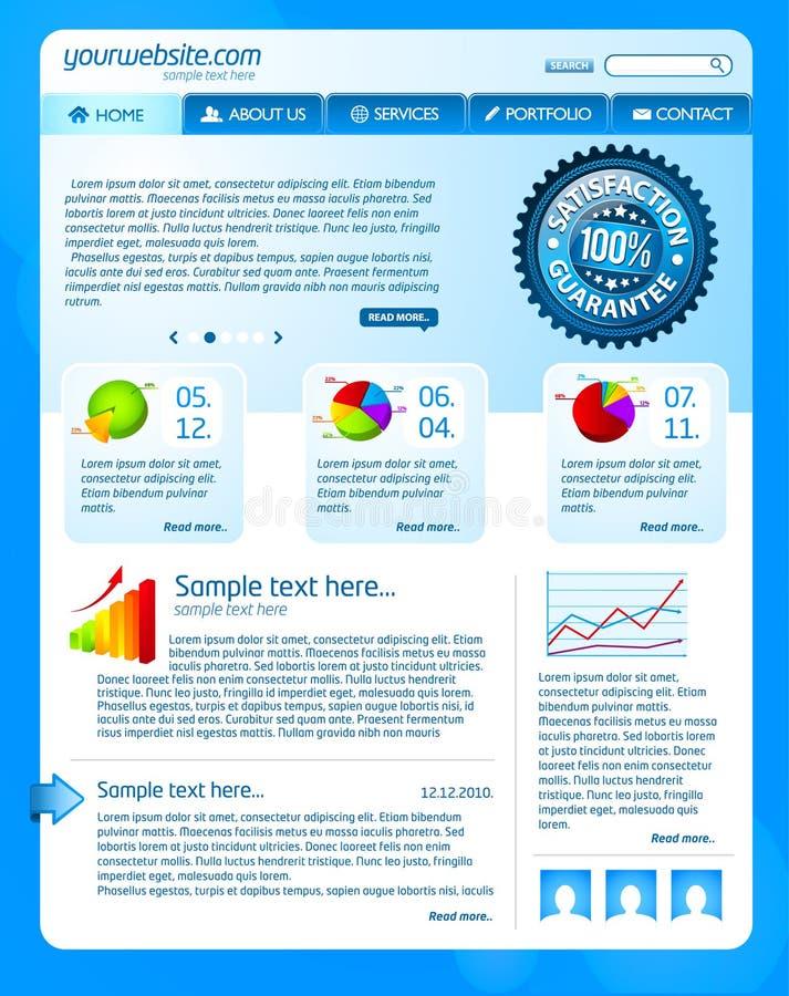 Blue website template vector illustration