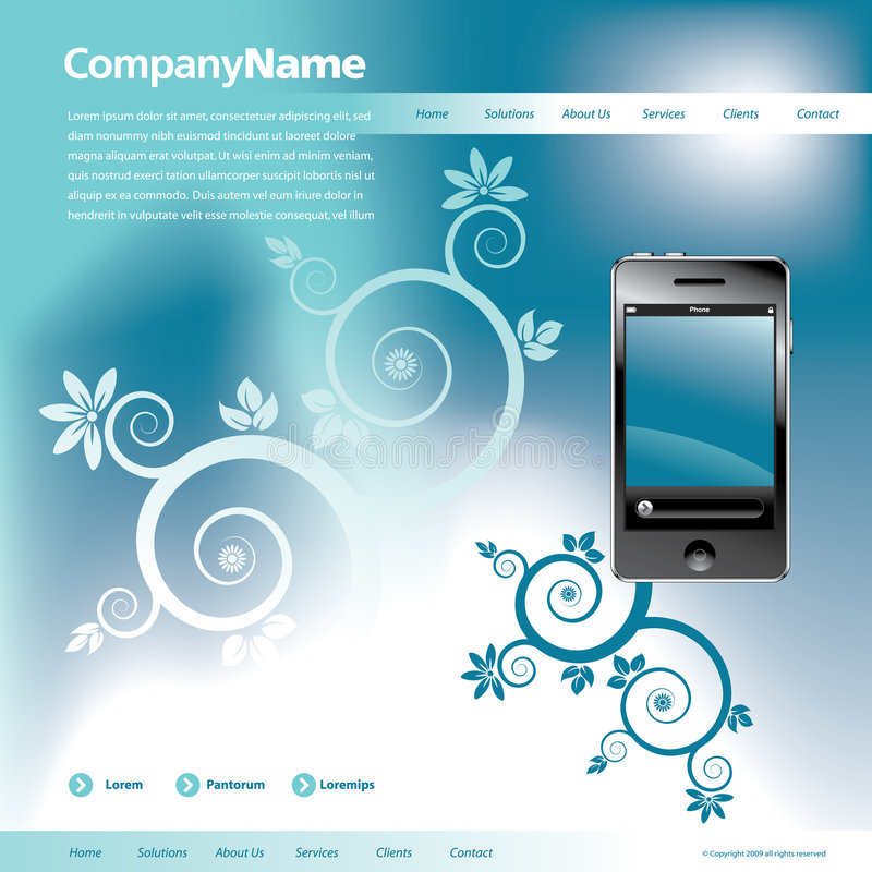 Download Blue Website Template stock vector. Image of color, mobile - 8682547