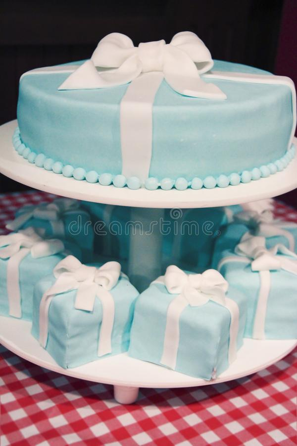 blue wedding cake and punkakes royalty free stock photo
