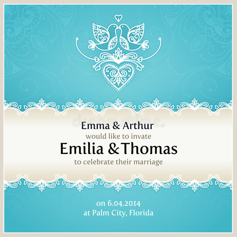 Blue Wedding Invitation Design Template. Stock Vector - Image ...