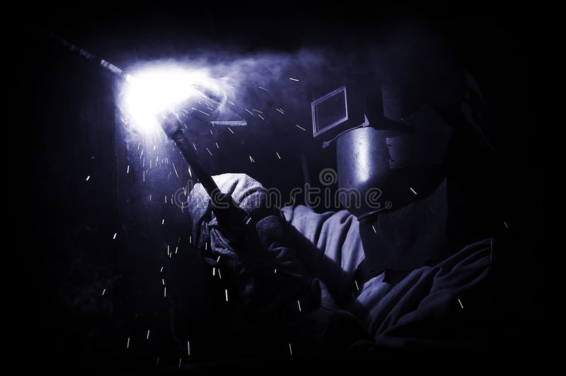 Blue weld stock photography