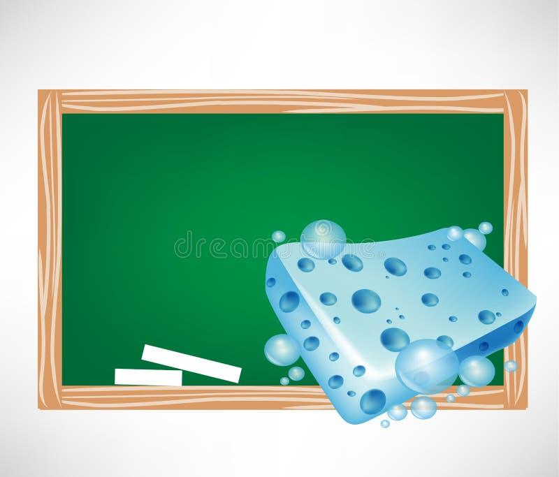 Blue Wet Sponge And Blackboard Stock Photo