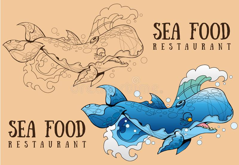 Blue Whale contour and color drawing for design food packaging 皇族释放例证