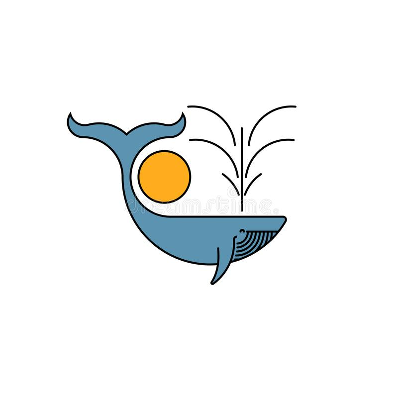 Blue whale logo creative typography graphic emblem, humpback whale with a fountain of water and the sun simple illustration royalty free illustration