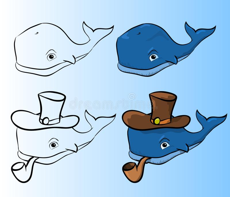 Blue whale with a pipe royalty free stock photography