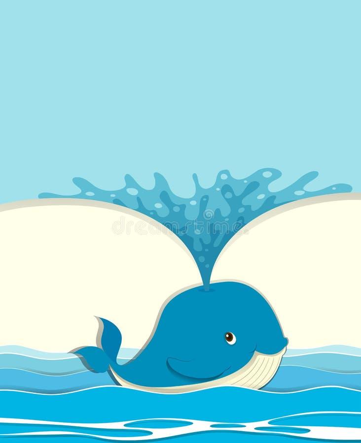 Blue whale splashing water vector illustration