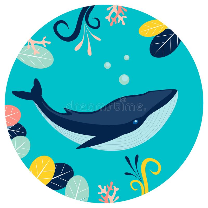 Blue whale under water in round background. Flat style. Cartoon vector royalty free illustration