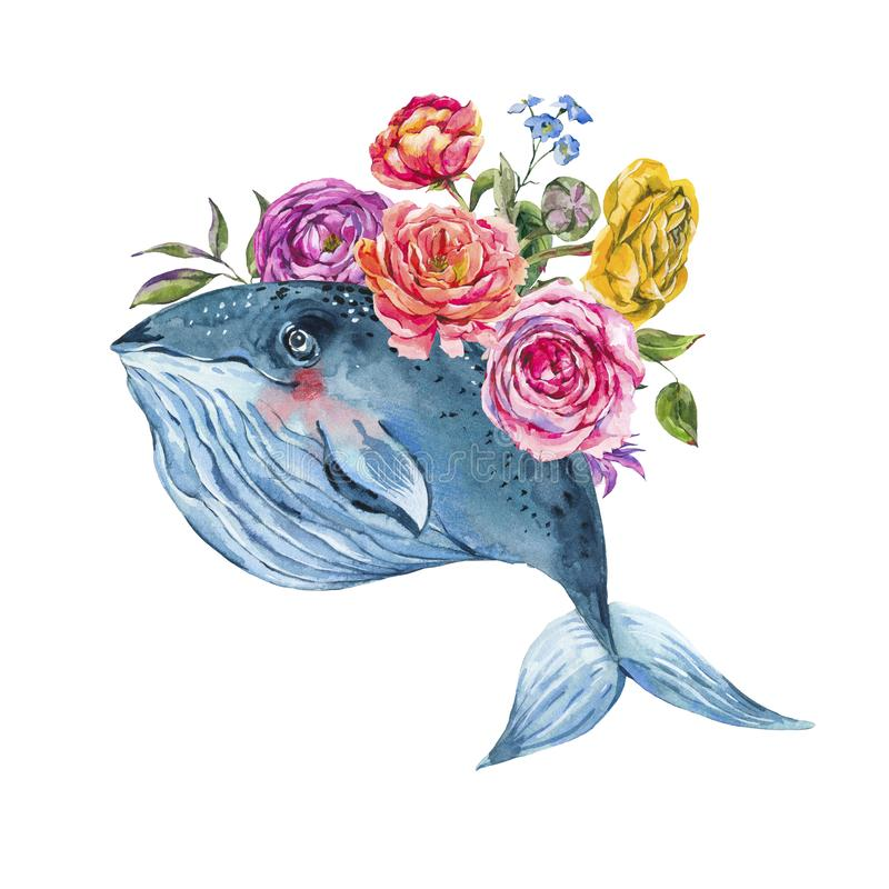 Blue whale watercolor with rose, anemones, summer flowers, red coral stock photography