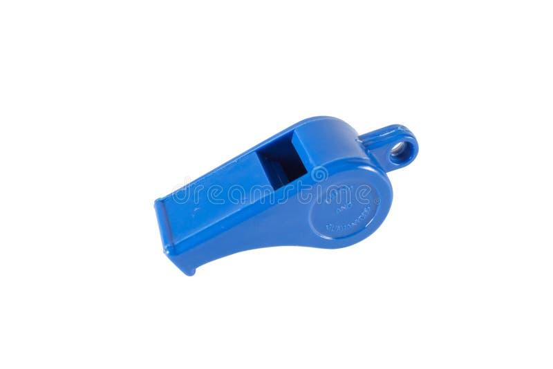 Blue whistle isolated on white background stock photography