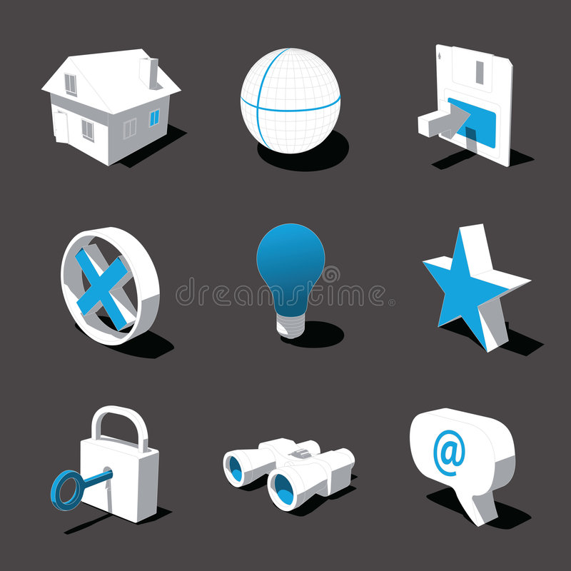 Free Blue-white 3D Icon Set 01 Royalty Free Stock Photos - 3092788