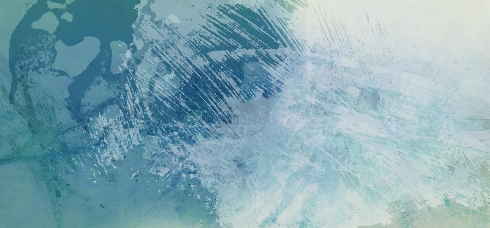 Blue and white background texture and distressed paint grunge design with scratched lines and paint blobs in artsy abstract. Design royalty free illustration