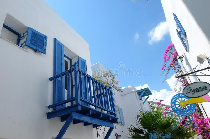 BLUE AND WHITE BALCONY AS MEDITERRANEAN STYLE IN SANTORINI PARK, THAILAND. Blue and white balcony as Mediterranean style decor. The photo was taken in Santorini stock photos