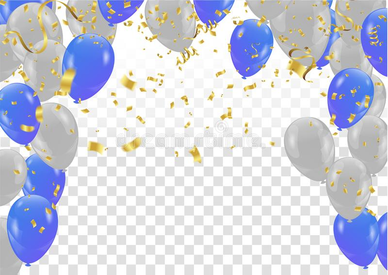 Blue and White balloons flying on gray background, illustration vector illustration