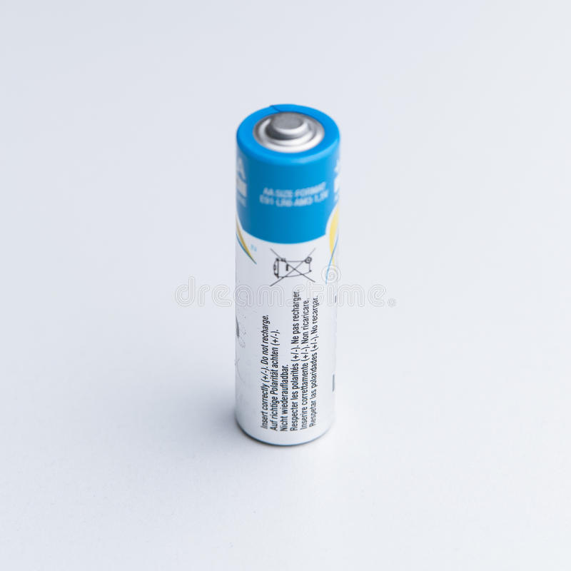 Blue and white battery stock image