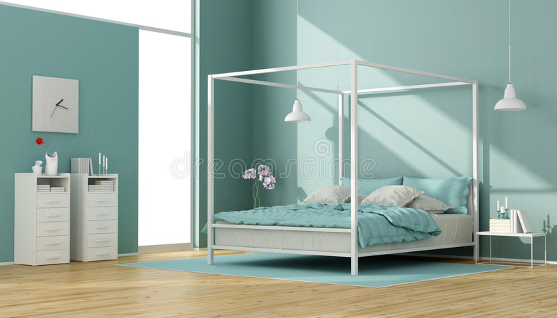 Blue and white bedroom with canopy bed. Blue and white bedroom with minimalist canopy bed and chest of drawers - 3D Rendering vector illustration