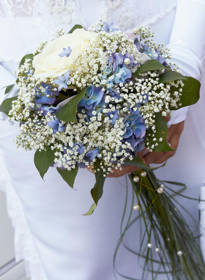 Blue and white bride's bouquet. royalty free stock photography
