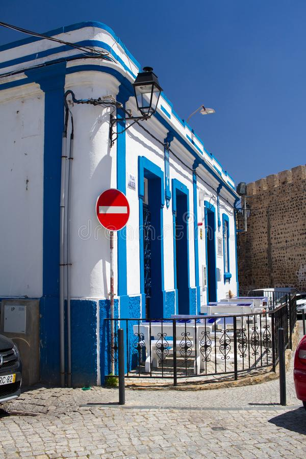 Blue and white building in city Sines, Algarve, Portugal. Blue and white building in city Sines, Algarve, in Portugal stock photo