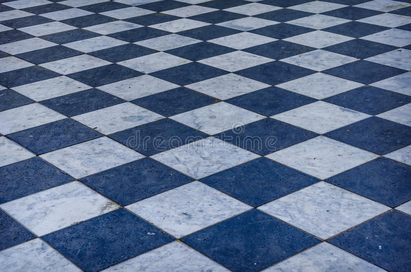 Blue And White Checkered Marble Floor Stock Image