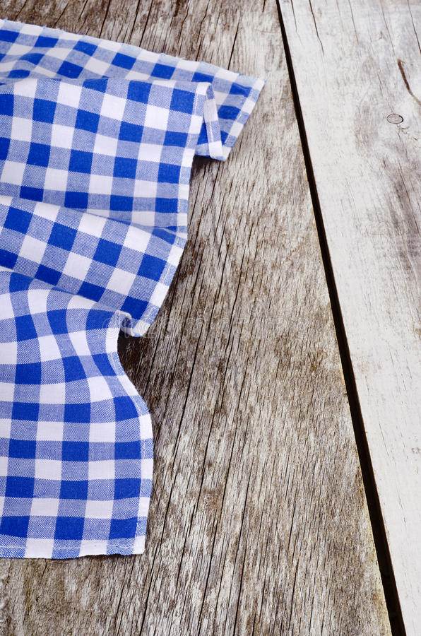 Download Blue White Checkered Tablecloth In An Old Wooden Stock Photo    Image: 65684374