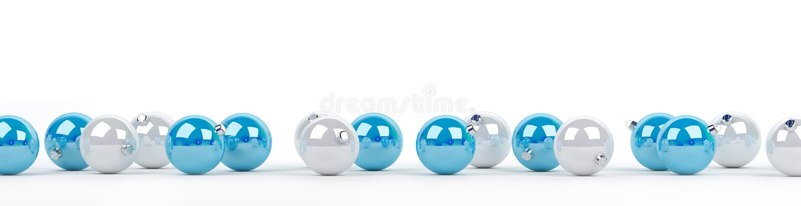Blue and white christmas baubles lined up 3D rendering royalty free illustration