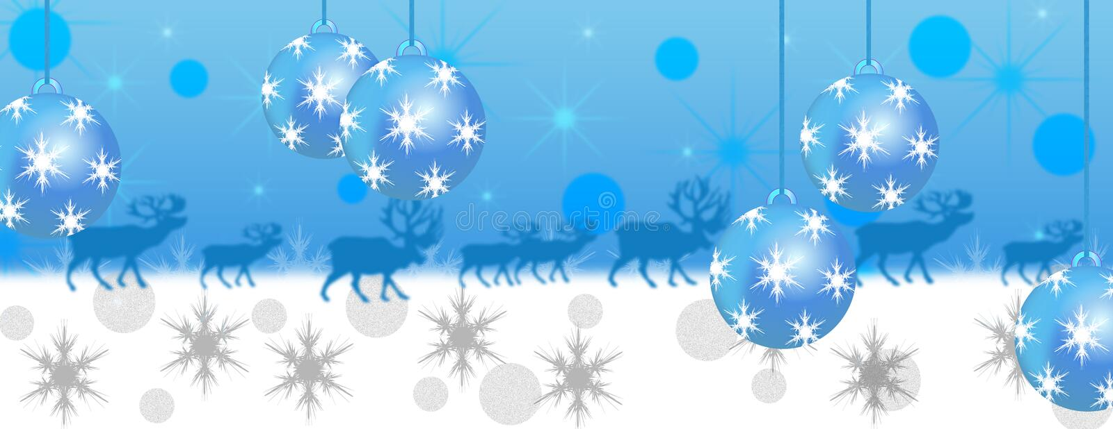Blue and white christmas panorama banner. With reindeer snow and baubles royalty free illustration