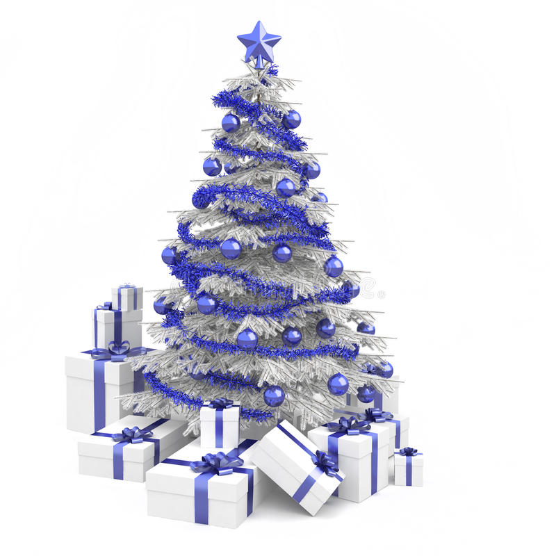 Blue and white christmas tree. Fully decorated christmas tree in blue and white colors with many presents and isolated on white background stock illustration